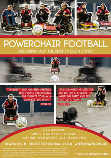 Ryan Dack has produced this poster campaign to educate people about powerchair football.