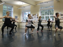 A dance session at Coleg Cambria (Yale College)