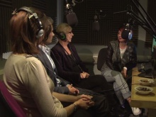 A panel discuss intercultural relationships in the studio