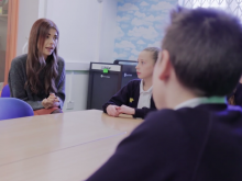 Fixer Nicole talking to school pupils about mental health