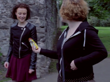 Chloe (left) playing the role of a young person with an eating disorder