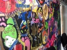 Graffiti wall at Padstow Youth Club