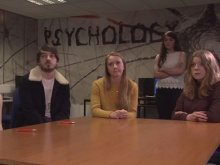 Cerys shows her Fixers film to psychology students