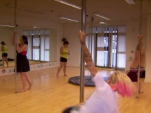 Aby and Eryn's pole fitness class