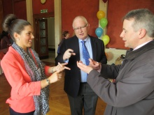 Vicki teaching sign language at the Fixers Northern Ireland launch