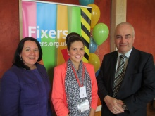 Vicki next to Paula Bradley MLA and Trevor Clarke MLA at the Fixers NI launch
