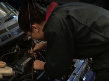 Gemima is training to be a mechanic