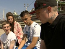 Fixer Jamie speaking to young people in Blackpool