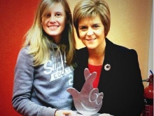 Nicola Sturgeon holds the award