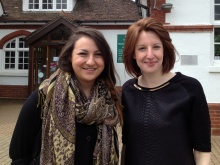 Hilary (left) and Vicky (right) standing outside Bookham Library