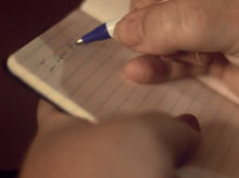 Shelley is seen writing in her diary in the Fixers film