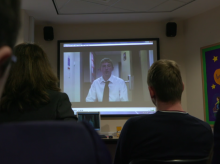 Joe shows his film about dyspraxia to pupils