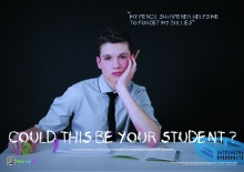 Poster with male student for self-harm awareness campaign