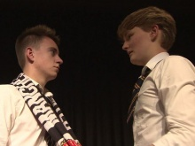 Fixers Dec (L) and Theo (R) acting in the play