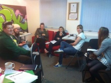 Songwriting session at the centre