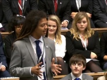 Solomon speaking to UK Youth Parliament members in the House of Commons