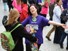 Fixer Sadie Fox giving free hugs at last year's event in Liverpool